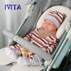 18''Silicone Closed Eyes Sleeping Baby Lifelike Doll Boy Birthday Gift Toy Doll
