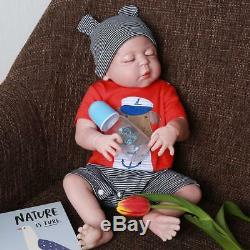 22 Bathable Lifelike Reborn Baby Dolls Toddler Boy Full Body Silicone Bebe Gift