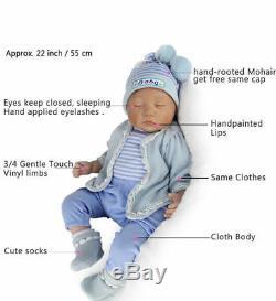 22' Twins Reborn Baby Dolls Newborn Babies Vinyl Silicone Handmade Doll Girl+Boy
