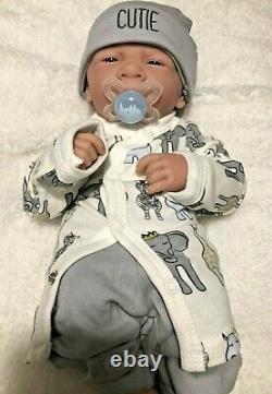AWW! BABY BOY CUTIE! Preemie Life Like Reborn Pacifier Doll + Extras