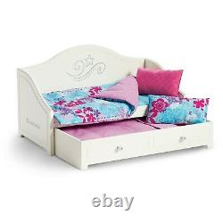 American Girl TRUNDLE BED and BEDDING Set for Dolls Truly Me New Daybed white