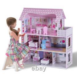 Barbie Doll House Dream Furniture Girls Wood Pink Playhouse Fun Play 3 Tier Set