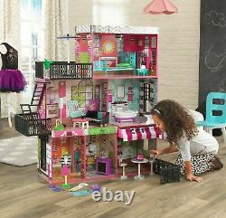 Barbie Size Dollhouse Furniture Girl Playhouse Dream Play Wooden Doll House Gift