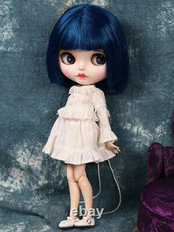 Blythe Nude Doll from Factory Dark Blue Hair With Make-up Eyebrow Sleeping Eyes