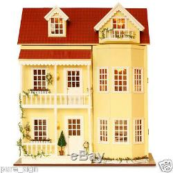 DIY Handcraft Miniature Project Kit Wooden Dolls House LED Lights Music Villa