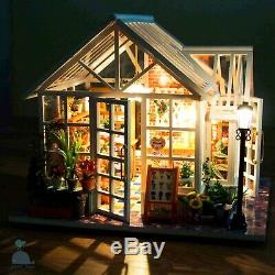 DIY Handcraft Miniature Wooden Dolls House The Back Garden Greenhouse 2019