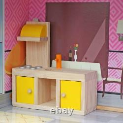 Giant Dream Wooden Doll House Pretend Play House Cottage with Furnitures Toy Gifts