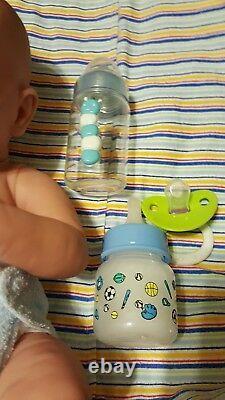 HANDSOME BABY BOY FIRST YAWN REBORN BOY DOLL 14 Preemie boy W PACI BOTTLE NEW