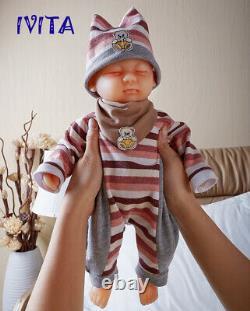 IVITA 15'' Full Silicone Reborn Doll Realistic Sleeping Baby Girl Toy Xmas Gift