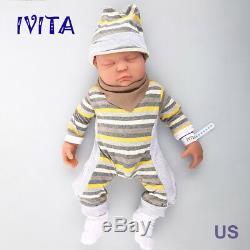 IVITA 18.5'' Full Body Soft Silicone Reborn Baby BOY Real Doll Sleeping Baby
