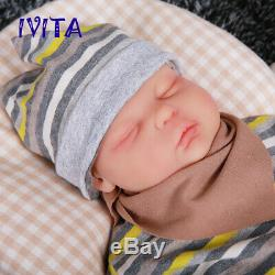 IVITA 18.5'' Soft Silicone Reborn Doll Lifelike Eyes Closed Baby Girl 3700g Toy