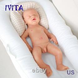 IVITA 18'' Full Body Soft Silicone Baby Eyes-closed BOY Lifelike Reborn Doll