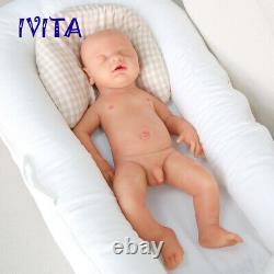 IVITA 18'' Reborn Baby Dolls Full Body Silicone Handmade Sleeping Boy Doll Gifts