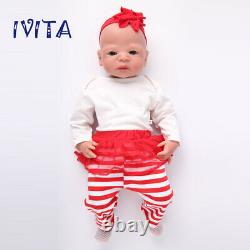 IVITA 21 Full Body Silicone Doll Big Eyes Cute Girl Toy Baby+Clothes Xmas Gift