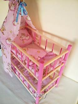 New Wooden Bunk Bed Cot Crib Dolls Toy With Pink Bedding Set And Canopy Sale 20%
