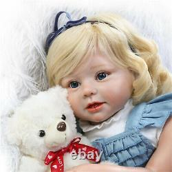 Reborn Toddler 28inch Adorable Reborn Baby Dolls Silicone Baby with Blonde Hair