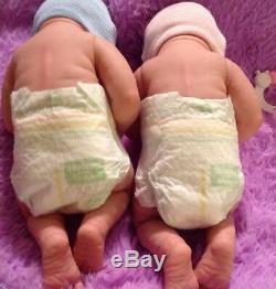 Twins So Cute! Reborn First Tears Boy And Girl W Pacifiers/bottles Preemie Dolls
