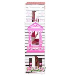 Wooden Kids Doll House With 17PCS Furnitures 3 storey Barbie Dollhouse Cottage