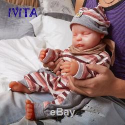 Xmas Gift Hot Doll IVITA 18 Lifelike Sleeping Baby Silicone Rebirth Baby Doll