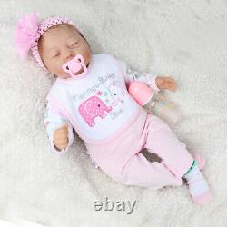 22' Reborn Poupées De Bébé Ressemblant À Un Nouveau-né Fait Main Silicone Vinyl Girl Doll+clothes