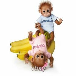 Ashton-drake Double Trouble Potible Bébé Orangutan Twins Avec Cheveux Wispy
