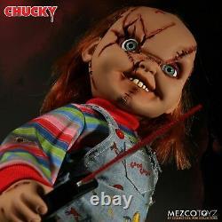 Child's Play 15 Scarred Talking Chucky Figure D'échelle Mega Avec Le Son Mezco Doll