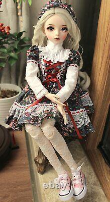Ensemble Complet 1/3 Boule Jointed Girl 60cm Bjd Doll + Yeux Changeables + Vêtements + Perruque