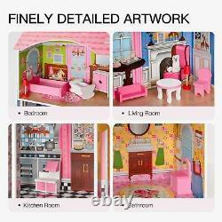 Filles Dream Wooden Pretend Jouer Maison Enfants Poupée Dollhouse Mansion Avec Meubles