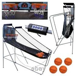 Foldable Indoor Basketball Arcade Game Double Electronic Hoops Shot 2 Player