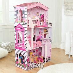 Grand Poupées Barbie Maison En Bois Enfants Maison De Poupée 17pcs Meubles & Lift Cottage
