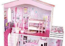 Grande Maison De Poupées Pour Enfants Poupée En Bois Maison 17pcs Meubles & Staircase Cottage