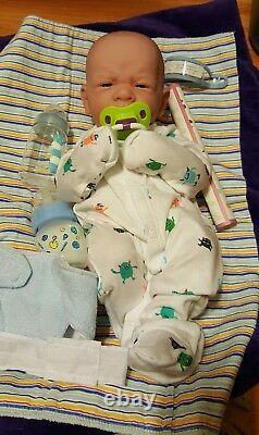 Handsome Bébé Garçon Reborn Bâillement Premier Doll 14 W Garçon Prématuré Paci Bouteille Nouveau