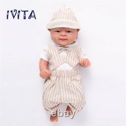 Ivita 14'' Full Silicone Reborn Baby Girl Doll 1.6kg Petit Cadeau Mignon De Jouet De Bébé