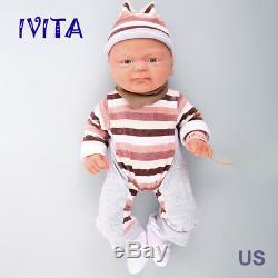 Ivita 14 '' Silicone Baby Doll Full Body Réaliste Lifelike Bébé Fille Jouet 1650g