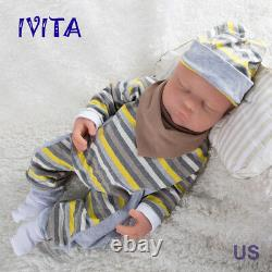Ivita 18.5'' Eyes Closed Silicone Reborn Baby Girl Newborn Baby Doll 3700g