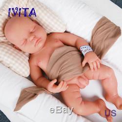 Ivita 18 '' Full Body En Silicone Souple Réaliste Doll Yeux Fermés Bébé Reborn Boy