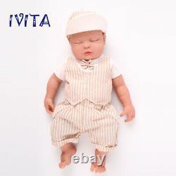 Ivita 18 Full Body Filled Soft Silicone Closed Eyes Doll Newborn Baby Boy Jouet