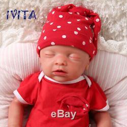 Ivita 18 '' Full Silicone Souple Reborn Baby Doll Girl Yeux Fermés Cadeaux De Vacances
