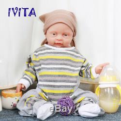 Ivita 18 ' ' Lifelike Pleine Silicone Bébé Reborn Boy Poupée Accompagnez Cadeau D'anniversaire
