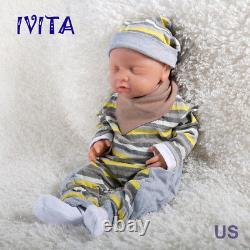Ivita 18 Pouces Eyes-fermés Baby Doll Girl Full Body Soft Silicone Lifelike Reborn