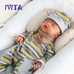 Ivita 18 '' Reborn Nuisettes Full Body Silicone Main Sleeping Doll Boy Cadeaux