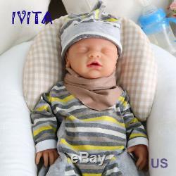 Ivita 18 '' Yeux Fermés Baby Doll Boy Full Body Silicone Souple Lifelike Réincarné