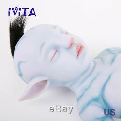 Ivita 20 ' ' Avatar Eye Fermé La Pleine Silicone Réincarné Bébé Garçon Avec Poupée Reborn Cheveux