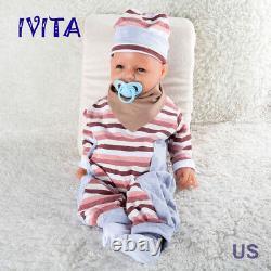Ivita 20 '' Reborn Silicone Full Body Bébé Fille Poupées Smile Peut Prendre Pacifier