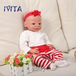 Ivita 21 Full Body Silicone Doll Big Eyes Cute Girl Toy Baby+clothes Cadeau De Noël