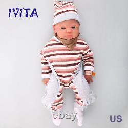 Ivita 21'' Reborn Baby Girl Doll Realistic Newborn Silicone Doll Cadeau De Noël