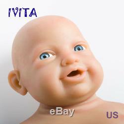 Ivita 23 '' Big Réincarné Full Body En Silicone Poupée Adorable Sourire Du Nouveau-né Bébé