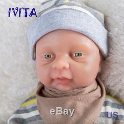 Ivita Baby Doll Boy Reborn Réaliste Du Nourrisson Corps Entier Silicone Avec Un Pacifier