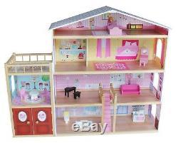 Kiddi Style Moderne Énorme Villa Maison De Poupées En Bois Et Meubles Convient Barbie