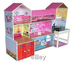 Kiddi Style Poupées Huge Manor Mansion Maison En Bois Et Meubles Fits Barbie